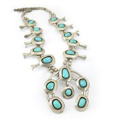 """Old Pawn"" Turquoise  Squash Blossom Necklace"