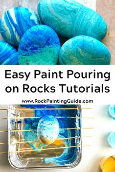 Easy and Fun Paint Pouring on Rocks Tutorials and Tips! Rock painting ideas and craft projects too! Rock Painting Ideas Easy, Painting For Kids, Painting Tips, Pour Painting, Painting Tutorials, Painted Rocks Craft, Hand Painted Rocks, Stone Crafts, Rock Crafts