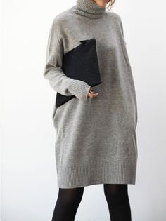 long turtleneck sweater dress #style #fashion