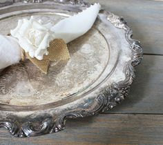 ❥ Vintage Round Ornate Footed Silver Plate Serving Platter