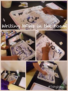 Writing high frequency words in the foam