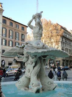 Triton Fountain by Gian Lorenzo Bernini located in Piazza Barberini, Rome.