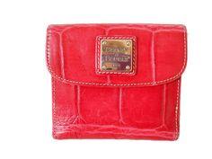 "Dooney & Bourke Red Croc Embossed Leather Bifold Wallet 4.75""L x 4.5""H x 1.25""W #DooneyBourke #Bifold"