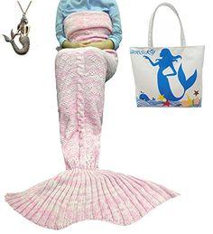 "URSKY Handmade Crochet Knitted Snuggle Mermaid Tail Blanket For Adult, Children, Teens, All Seasons Sofa Living Room Sleeping Bag Blanket (74.8""x .35.5"", Flower Pink) - $31.99"
