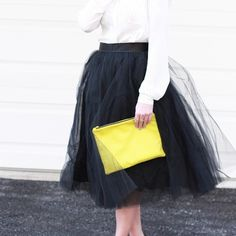 "Black Tulle Skirt NWT - styled on the blog. Size medium black midi tulle skirt with zipper in the back. 30"" length. Excellent condition Space 46 Skirts Midi"