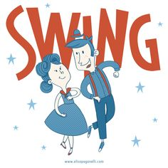 Illustration for a Swing and Boogie dance event www.elisapaganelli.com…