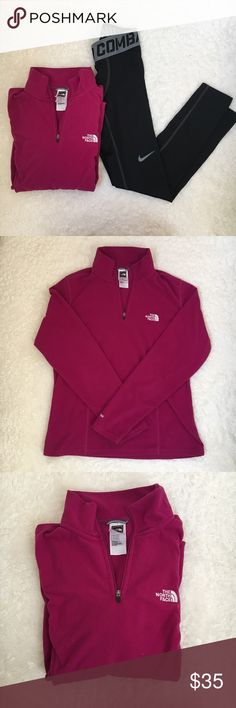 North Face 3/4 Zip Fleece Jacket Super soft and comfortable, like new, and perfect for the cold weather! 🛍Black leggings for sale in another listing🛍 North Face Jackets & Coats