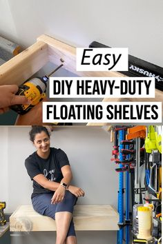 Simple and easy DIY floating shelf tutorial. Great detailed beginner friendly step by step instructions and plans to make a heavy duty strong floating shelf. Also includes full video.