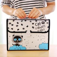 Sweet Cat is Always Right Multi-Layer A4 File Bag