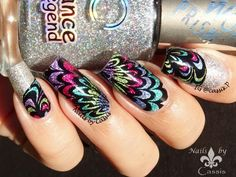 Holographic Watermarble Stamping Mani - Nails by Cassis #nails #nailart #nailstamping #pueencosmetics #dancelegend