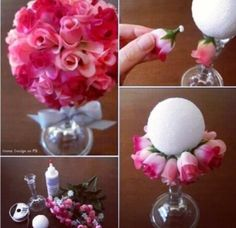 Romantic take on a popular diy! This ball in a vase is a sharp contrast to the whimsical, younger version of a hanging flower ball. You could easily take this idea from teen( hanging flower ball) to adult, simply by putting it in a vase! Home Crafts, Kids Crafts, Diy And Crafts, Craft Projects, Baby Crafts, Kids Diy, House Projects, Craft Ideas, Dollar Store Crafts