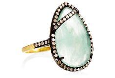 Teardrop Emerald & Diamond Cocktail Ring @ OneKingLane.com