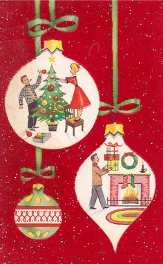 Christmas ornament scenes.