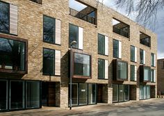 copper cladding on pop-out windows Brick Architecture, London Architecture, Architecture Visualization, Residential Architecture, Architecture Details, Multi Storey Building, Residential Complex, Small Buildings, Brick Building