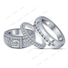 14K White Gold Finish 925 Sterling Silver  Engagement & Wedding Trio Ring Set  #WeddingEngagementAnniversaryBrithdayPartyGift