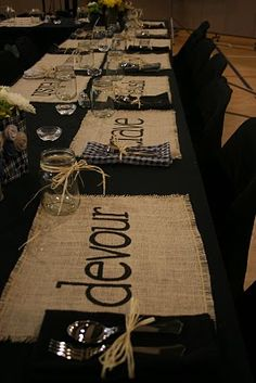 Stenciled words on burlap as placemats.