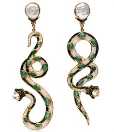 Percossi Papi - Earrings with emeralds, natural pearls and cloisonné enamels... snakes!