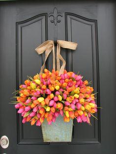 Beautiful!  Front Door Decorations for Spring | Spring Tulips - Farmhouse Tulips - XL Front Door Decor - Country ...