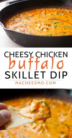 Cheesy Buffalo Chicken Dip baked in a skillet! This is a surprisingly easy dip made with real cheese and baked until piping hot. So addictive and always a crowd pleaser!