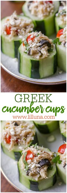 Greek Cucumber Cups - a light and delicious snack or side that is filled with chicken, olives, tomato, feta and Greek dressing!
