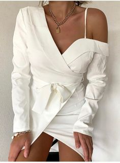 One Shoulder Tie Waist Wrap Mini Dress WomenPlus Size Spring 2019 Dresses.Clothes For WomenPlus Size Fashion For Women SummerSpring Outfit For WorkDresses For Women Casual Dresses, Fashion Dresses, Long Dresses, Pagent Dresses, Chiffon Dresses, Fall Dresses, Nice Dresses, Formal Dresses, Moda Chic