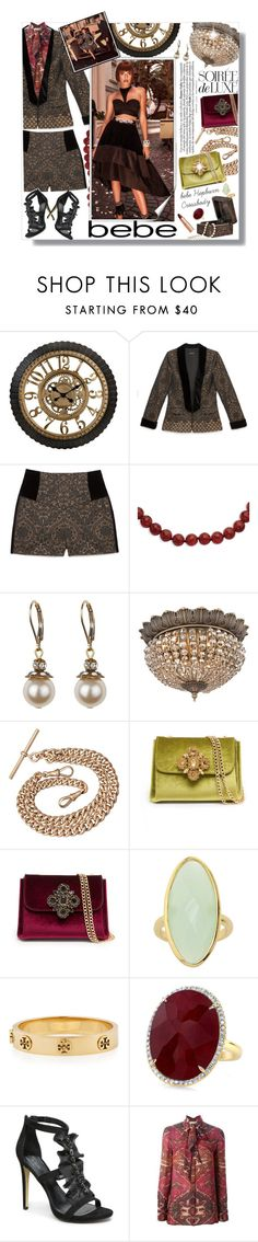 """""""Soirée de Luxe with bebe Holiday: Contest Entry"""" by meyli-meyli ❤ liked on Polyvore featuring Bebe, Kevin Jewelers, Vienna Full Spectrum, Tory Burch, Charlotte Tilbury, contestentry, bebe and soireedeluxe"""