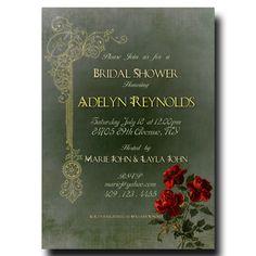 Vintage Bridal Shower Invitation -  Rustic bridal shower invitation, floral bridal shower, wedding shower invitation
