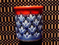 Diamond Embossed Miniature Pot  red and blue. $14.00, via Etsy.