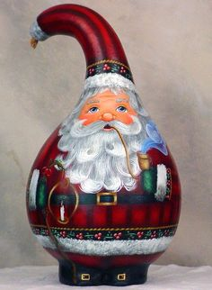 Gourd Santa | Little Light of Mine - Hand Painted Santa Gourd