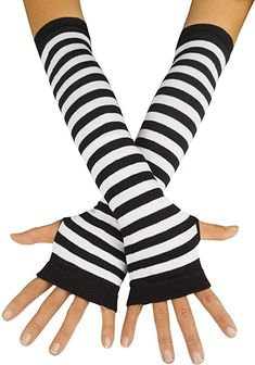 Soft Breathable Cotton Long Gloves Spring Autumn Sun Protection Outdoor Cycling Driving Arm Cover Sleeves Gloves for Women Ladies Black Striped Gloves, Moda Emo, Halloween Costume Accessories, Fingerless Gloves Knitted, Gothic Rock, Dress Gloves, Shawls And Wraps, Hand Warmers, Alter