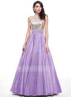 Ball-Gown Scoop Neck Floor-Length Beading Zipper Up Regular Straps Sleeveless No Black Winter Spring Summer Fall General Plus Taffeta Sequined Prom Dress