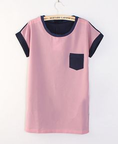 Color Block T-Shirt with Patch Pocket