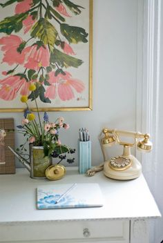 glam desk styling
