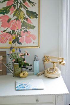 feminine desk styling