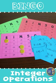 Integer Operations BINGO - Provide your students with some engaging practice with solving adding, subtracting, multiplying, and dividing integer problems. Great math game for small groups or the whole… Math Bingo, Fun Math, Math Games, Kids Math, Integers Activities, Math Activities, Numeracy, Adding And Subtracting Integers, 7th Grade Math