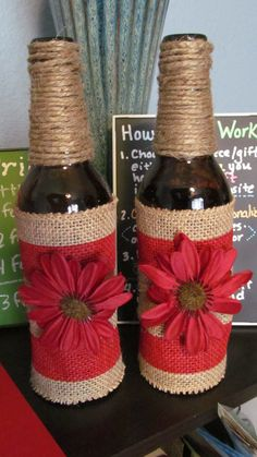 Create Beautiful Burlap Bottles for Each Season or Order Custom Bottles today www.a-four-seasons-home.com Tips and Ideas for Seasonal: Home Decor, Home Design, Crafts, DIY Projects, Home Styling, Home Staging, and Home Organization Shop Hand Crafted Gifts- Custom Orders Welcome