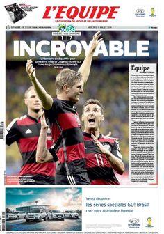 La Une de L'Equipe après Allemagne-Brésil - http://www.actusports.fr/111668/lequipe-apres-allemagne-bresil/