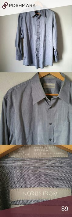 """Nordstrom Gray Chevron 18 34 Dress Shirt - Tiny chevron pattern  - Faint stain on back of collar as pictured - Size 18-34, Traditional Fit (Approx size XL) -100% cotton, """"Smartcare"""" wrinkle-free -28"""" armpit to armpit -33"""" long back collar to hem Nordstrom Shirts Dress Shirts"""