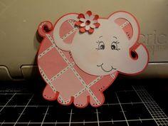Elephant shape card using New Arrival cricut cartridge and Peachy Keen Faces.