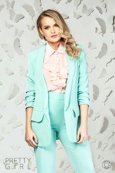 Sacou vernil cu buzunare Smart Casual, Pretty Girls, Girl Fashion, Spring Summer, Spandex, Blazer, Jackets, Women, Women's Work Fashion