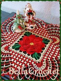 Bella Crochet: Country Christmas Doily - Free thread crochet pattern by Elizabeth Ann White. Crochet Christmas Ornaments, Christmas Crochet Patterns, Holiday Crochet, Crochet Doily Patterns, Christmas Knitting, Crochet Designs, Stocking Ornaments, Stitch Patterns, Knitting Patterns