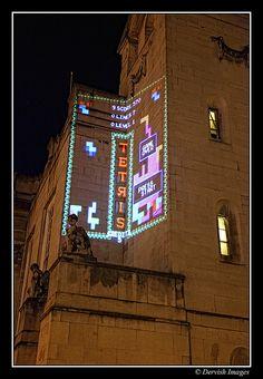 Light Night Civic Hall Tetris. Andy Abbot & Lumen