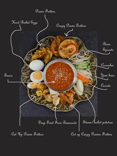 Pasembur or Malaysian-Indian Salad recipe. Pasembur is made of variety ingredients such as deep fried hard beancurd, julienne cucumber, steam potato, julienne carrots, julienne yam beans, crispy prawn fritters. Drizzle with spicy nutty sauce.