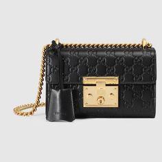 Gucci Small Padlock Signature Leather Shoulder Bag In Black Red Shoulder Bags, Gucci Shoulder Bag, Chain Shoulder Bag, Small Shoulder Bag, Shoulder Handbags, Leather Shoulder Bag, Leather Key Case, Leather Purses, Leather Handbags
