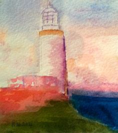 """lighthouse"" watercolour card by Rosie Kerr 2014 sold"