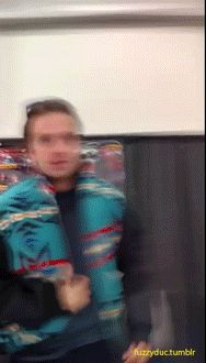 """At SLCC, I had Sebastian try on the Blaine Jacket from Hot Tub Time Machine because everyone's saying he's too buff but as he says in the video """"It FITS!""""His reaction when he realized it was the jacket:Afterwards, he signed it:(and apologies, I'm not posting the video. I am squealing and shrieking and it's so freaking embarrassing. So you get gifs for it instead.)"""