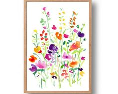 Blue Bonnet and Indian paintbrush field is an art print of my Original watercolor paintig. This right vivid print will be a lovely gift for your Texan freidns. Bluebonnet is Texas state flower. The first photo is detail, see full painting in the second photo. *Frame and mat are not included. *watermark will not appear on painting Available in the sizes below - please pick the size from the drop window on the right: 5 X 7 inch = 12.7 X 17.8 cm 4 X 6 inch = 10.2 X 15.2 cm A5 5.8 X 8.3...