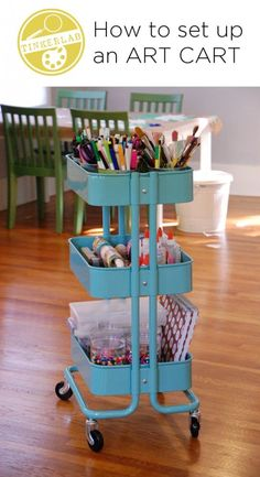 Organize your most frequently used art supplies on a rolling, portable art cart. This post show you how to set your cart up for success.
