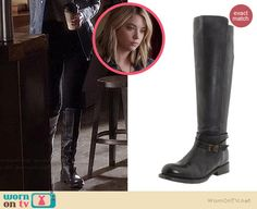 Hanna's black boots on Pretty Little Liars.  Outfit Details: http://wornontv.net/34895/ #PLL