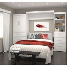 Boutique Queen Wall Bed with Storage Unit with Drawers and Doors in White from Costco.com